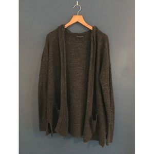 Charcoal gray hooded cardigan with pockets